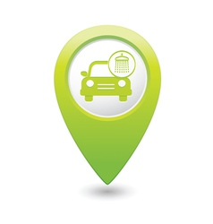 car wash icon map pointer green vector image