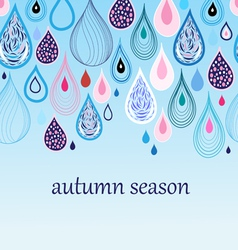 Autumn background with drops vector