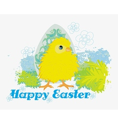 Cute Easter chick cartoon characterHappy Easter vector image