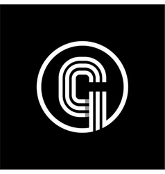 G capital letter of three white stripes enclosed vector