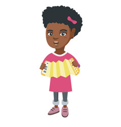 african-american girl playing the accordion vector image