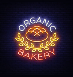 bakery organic logo fresh bread loaf vector image
