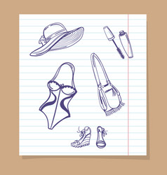 beach look sketch icons vector image