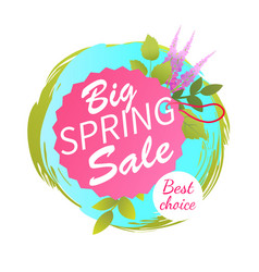 big spring sale best advertisement label lavender vector image