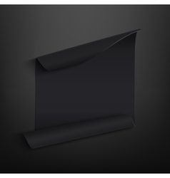 Black blank curved paper banner on black vector