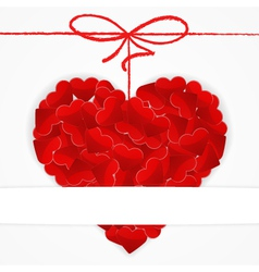 Card template with big red heart vector