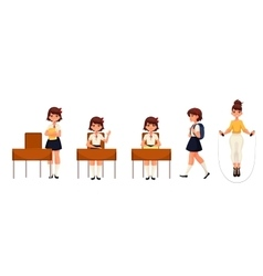 Cartoon school girl standing sitting walking and vector image vector image