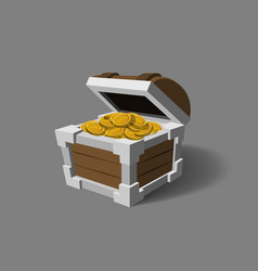 Chest with gold in cartoon style pirate treasures vector