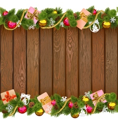 Christmas Border with Gifts on Wooden Board vector image