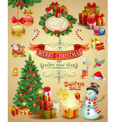 collection of christmas ornaments vector image