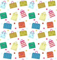 Cute shopping bag seamless pattern colorful vector