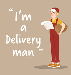 delivery man character with package and order on vector image vector image