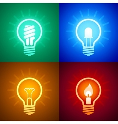 Evolution of lighting equipment vector image