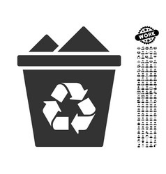 full recycle bin icon with men bonus vector image