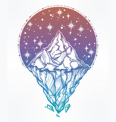 hand drawn beautiful iceberg and sky vector image