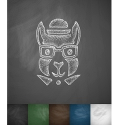 Hipster squirrel icon hand drawn vector
