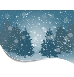 Holiday card Silhouettes of fur-trees on a vector image vector image