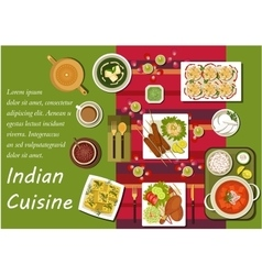 Indian cuisine main dishes and snacks vector
