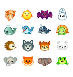 kawaii animals set ii vector image vector image