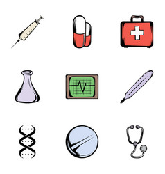 Medicine icons set cartoon style vector
