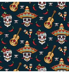 Mexican skull pattern vector