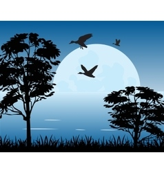 Moon on water vector image vector image