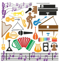 musical instruments icons vector image vector image