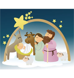 Nativity scene with Holy Family vector image vector image