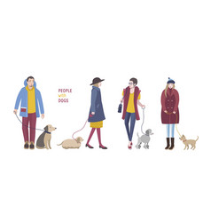 People walking with dogs colorful flat vector