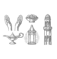 praying hands arabic lampdates fruit minaret vector image vector image