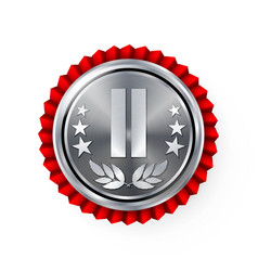 Silver 2st place rosette badge medal vector