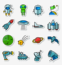 Space icons set thin simply stickers with vector