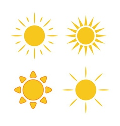 Sun icons set white light vector