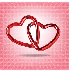 Two red hearts of steel linked together realistic vector