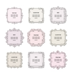 Vintage square frames set isolated on white vector