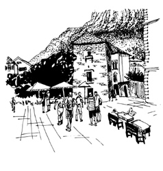 Sketch drawing of kotor street - famous place in vector