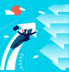 Business change of direction surfing man concept vector