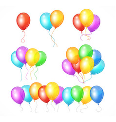 realistic balloon rainbow set vector image