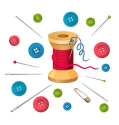 Reel with threads surrounded by pins and needles vector