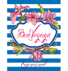 Seasonal card with rope frame and orchid flowers vector