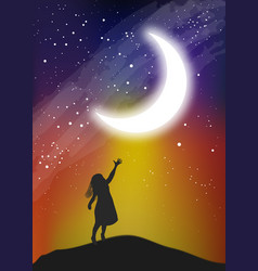 The girl touching the moon on the sky vector