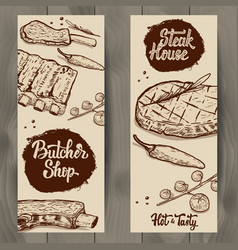 Set of butcher shop and steak house flyers vector