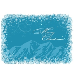 Blue christmas background with mountains vector