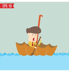 Cartoon business man rowing a boat in his umbrella vector