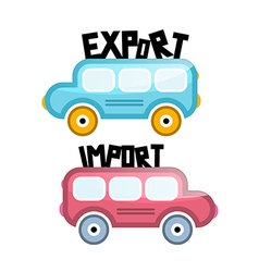 Export import bus icons vector