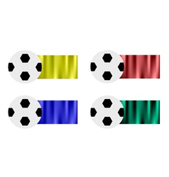Four soccer balls with yellow brown blue green vector