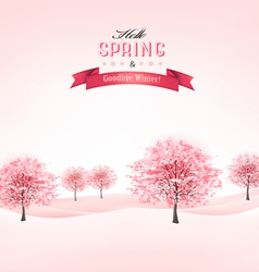 Spring background with blossoming sakura trees vector