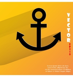 Anchor Flat modern web button with long shadow and vector image