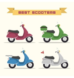 Set of retro scooters vector
