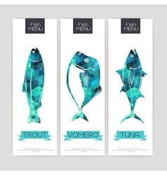 Set of triangle grometric banners with fish vector
